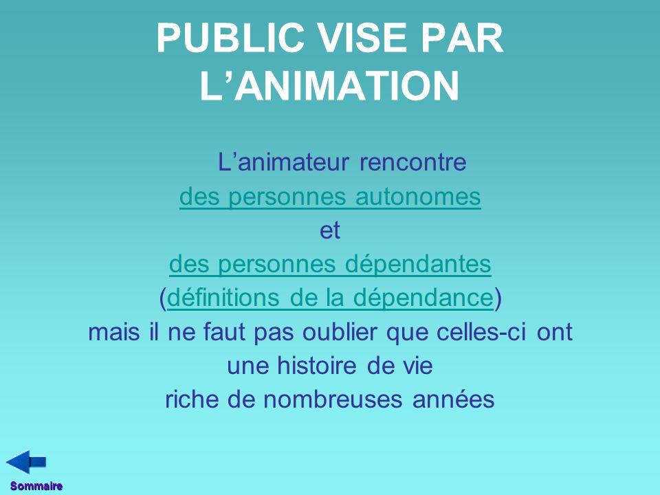 PUBLIC VISE PAR L'ANIMATION L'animateur rencontre des personnes autonomes et des personnes dépendantes (définitions de la dépendance)définitions de la
