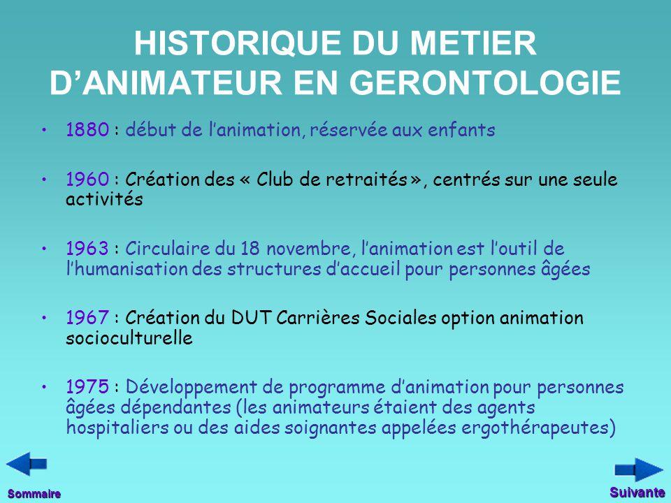 HISTORIQUE DU METIER D'ANIMATEUR EN GERONTOLOGIE 1880 : début de l'animation, réservée aux enfants 1960 : Création des « Club de retraités », centrés