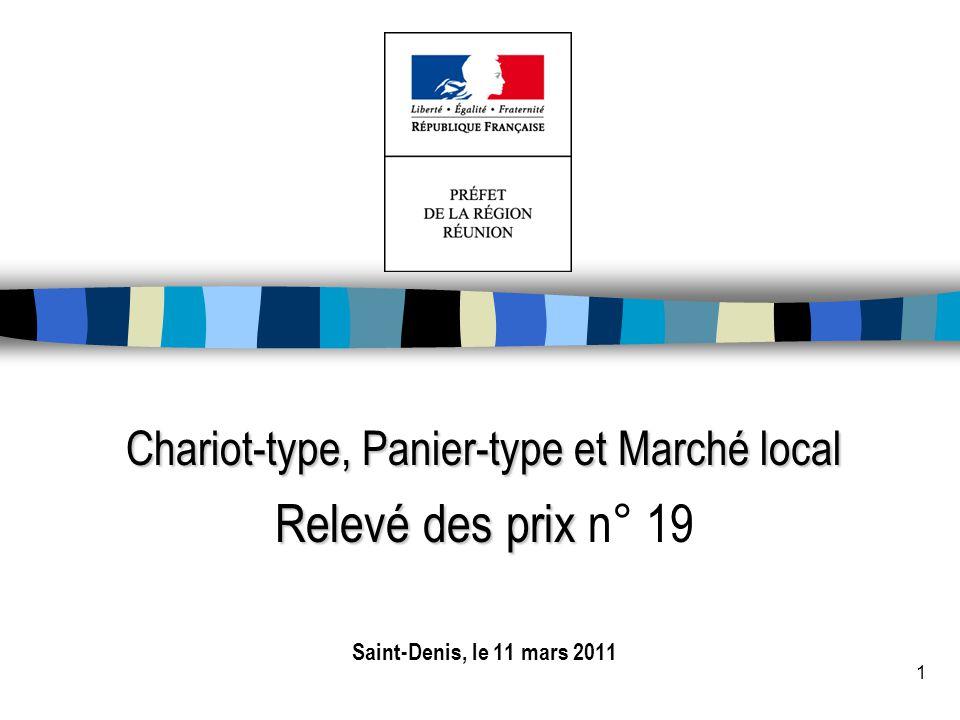 1 Chariot-type, Panier-type et Marché local Relevé des prix Relevé des prix n° 19 Saint-Denis, le 11 mars 2011