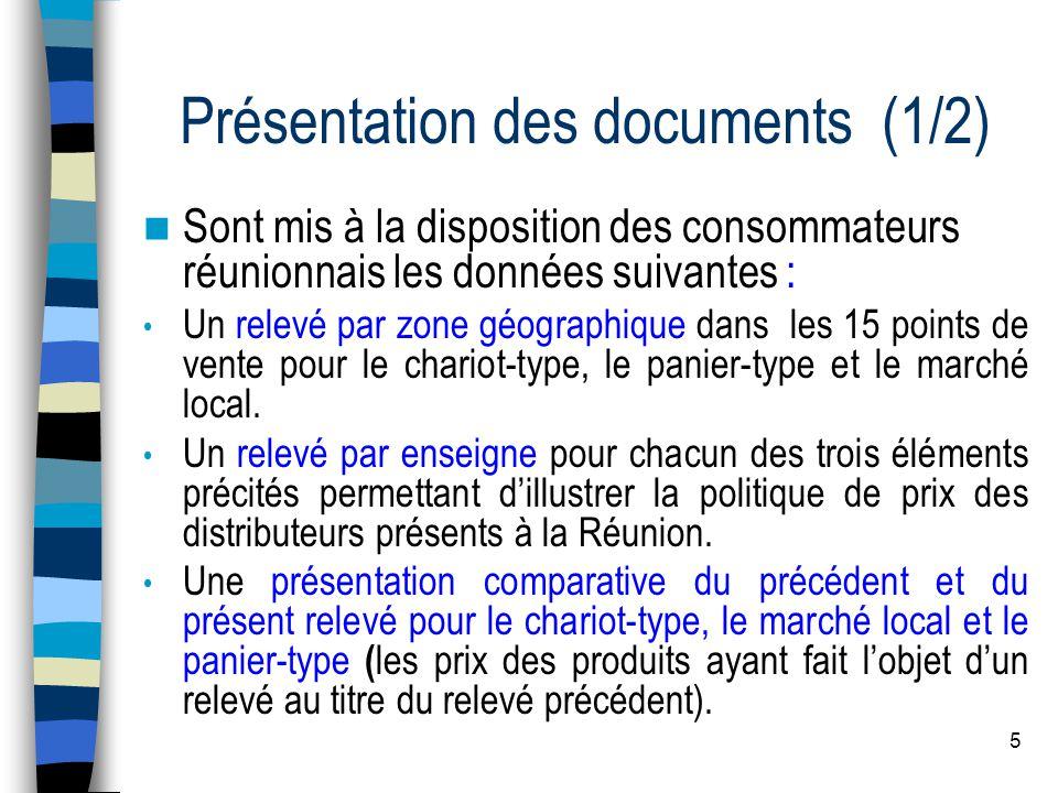 6 Présentation des documents (2/2) Pour le calcul du chariot-type, du panier-type et du marché local, un prix moyen est appliqué au produit indisponible.