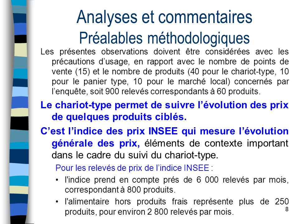 8 Analyses et commentaires Préalables méthodologiques Les présentes observations doivent être considérées avec les précautions d'usage, en rapport ave