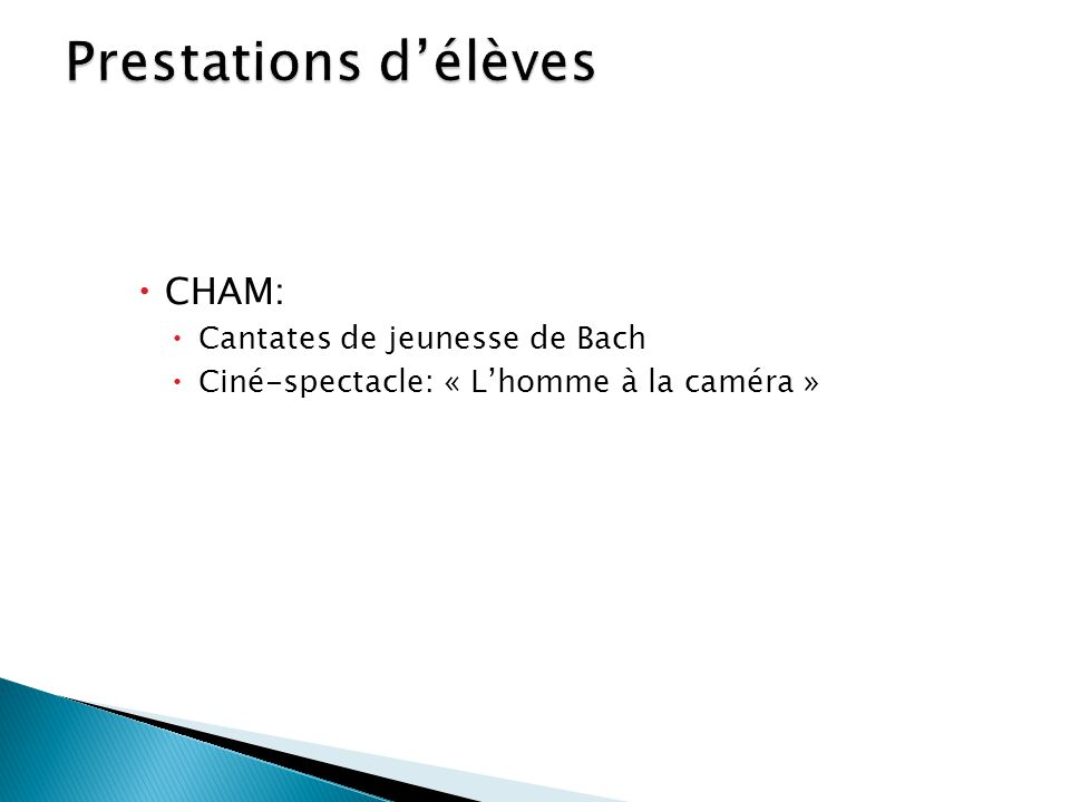  CHAM:  Cantates de jeunesse de Bach  Ciné-spectacle: « L'homme à la caméra »