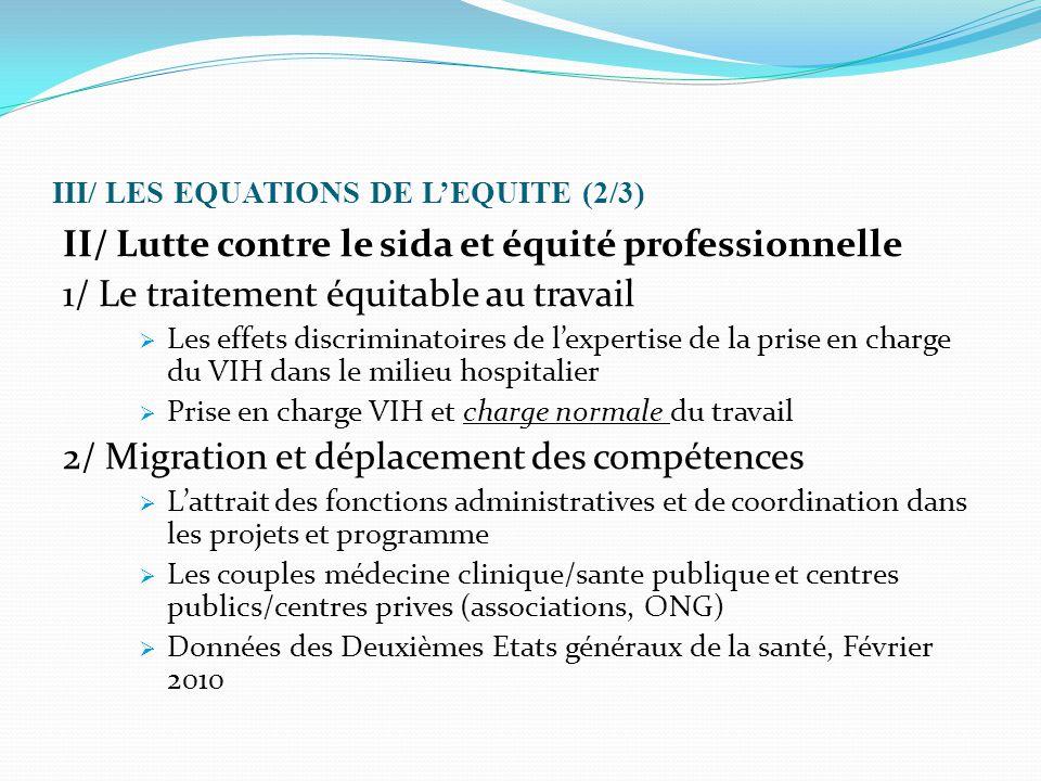 III/ LES EQUATIONS DE L'EQUITE (2/3) II/ Lutte contre le sida et équité professionnelle 1/ Le traitement équitable au travail  Les effets discriminat