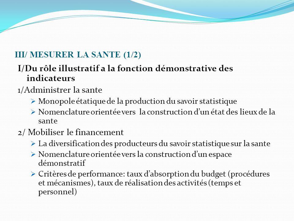 III/ MESURER LA SANTE (1/2) I/Du rôle illustratif a la fonction démonstrative des indicateurs 1/Administrer la sante  Monopole étatique de la product
