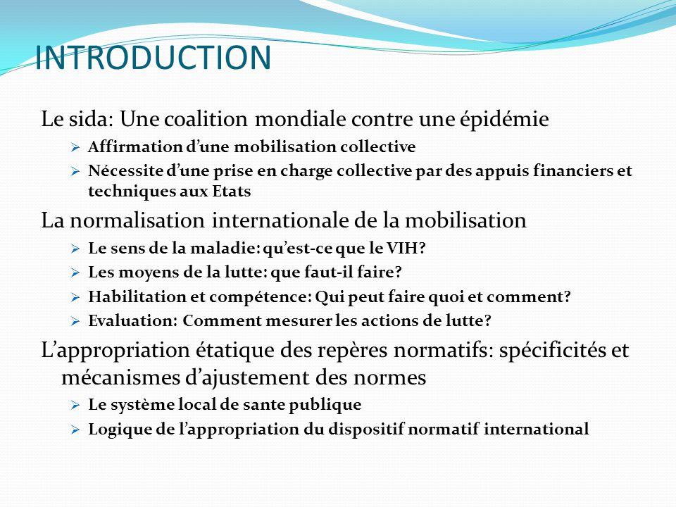 INTRODUCTION Le sida: Une coalition mondiale contre une épidémie  Affirmation d'une mobilisation collective  Nécessite d'une prise en charge collect