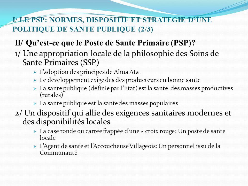 I/ LE PSP: NORMES, DISPOSITIF ET STRATEGIE D'UNE POLITIQUE DE SANTE PUBLIQUE (2/3) II/ Qu'est-ce que le Poste de Sante Primaire (PSP)? 1/ Une appropri