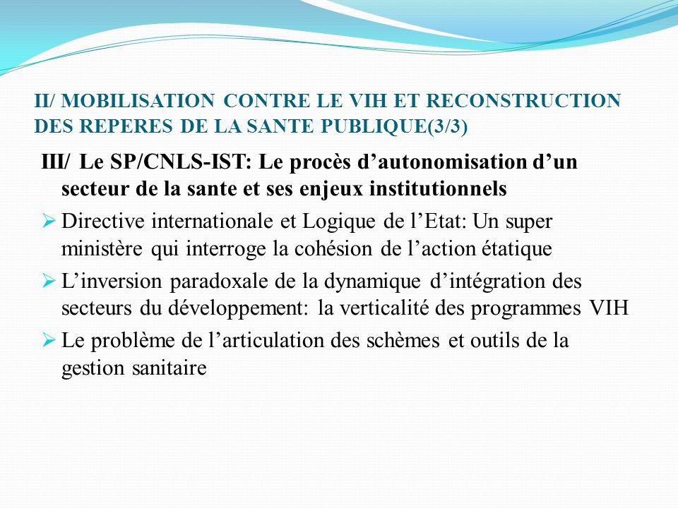 II/ MOBILISATION CONTRE LE VIH ET RECONSTRUCTION DES REPERES DE LA SANTE PUBLIQUE(3/3) III/ Le SP/CNLS-IST: Le procès d'autonomisation d'un secteur de