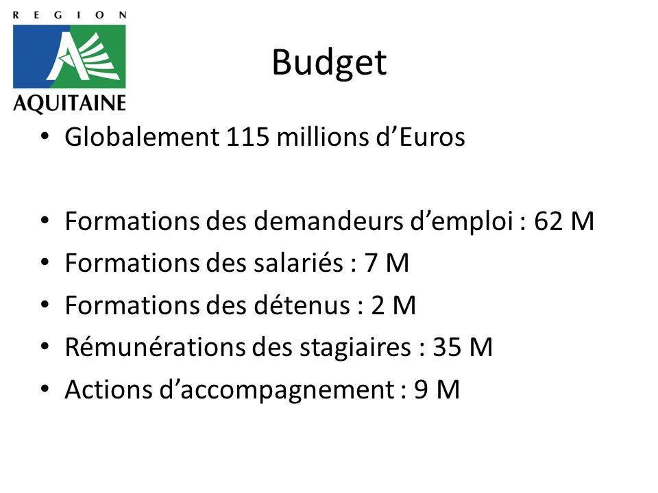 Budget Globalement 115 millions d'Euros Formations des demandeurs d'emploi : 62 M Formations des salariés : 7 M Formations des détenus : 2 M Rémunérations des stagiaires : 35 M Actions d'accompagnement : 9 M