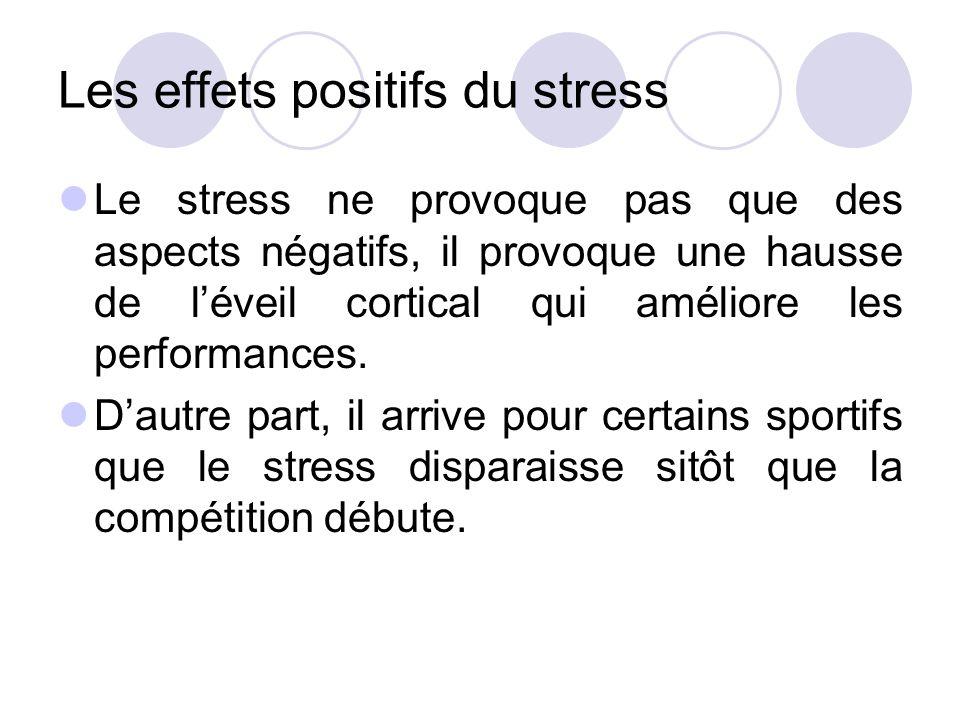 Les effets positifs du stress Le stress ne provoque pas que des aspects négatifs, il provoque une hausse de l'éveil cortical qui améliore les performa