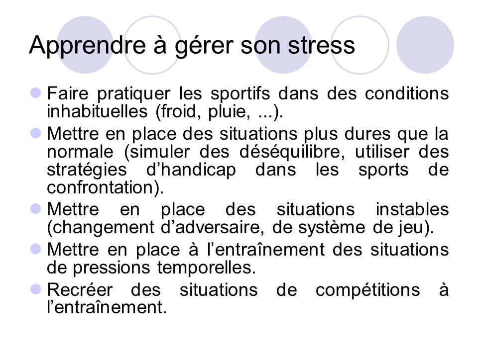 Apprendre à gérer son stress Faire pratiquer les sportifs dans des conditions inhabituelles (froid, pluie,...). Mettre en place des situations plus du