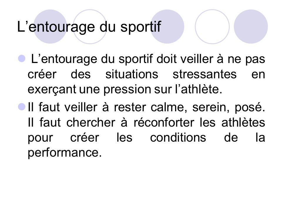 L'entourage du sportif L'entourage du sportif doit veiller à ne pas créer des situations stressantes en exerçant une pression sur l'athlète. Il faut v