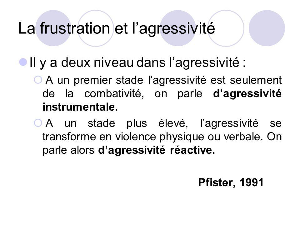 La frustration et l'agressivité Il y a deux niveau dans l'agressivité :  A un premier stade l'agressivité est seulement de la combativité, on parle d'agressivité instrumentale.