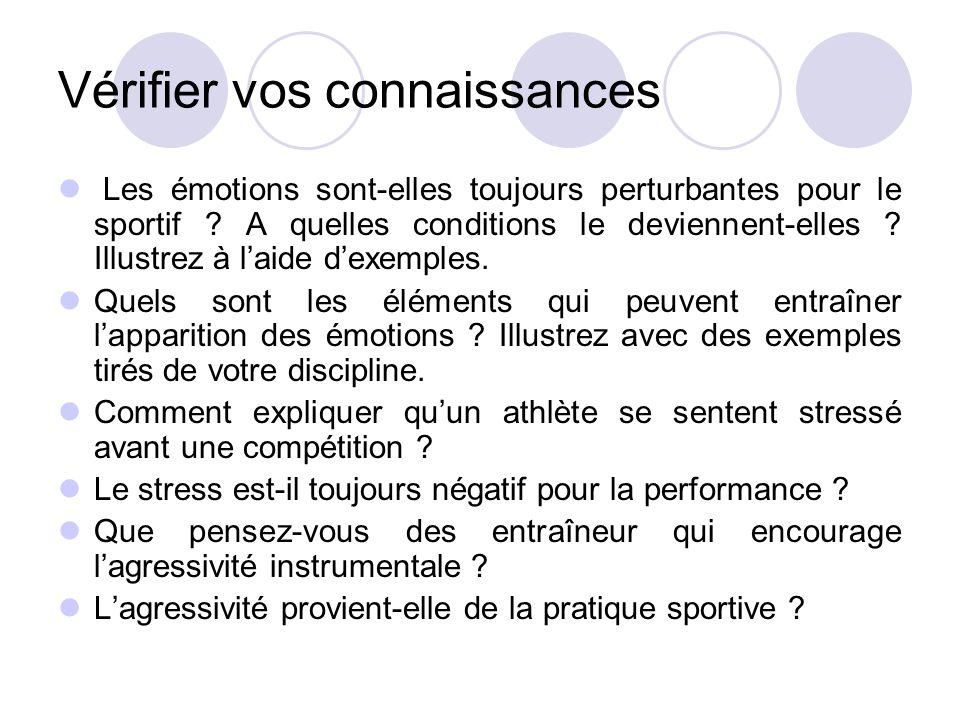 Vérifier vos connaissances Les émotions sont-elles toujours perturbantes pour le sportif ? A quelles conditions le deviennent-elles ? Illustrez à l'ai
