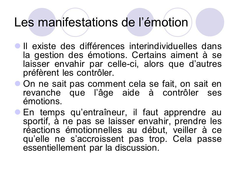 Les manifestations de l'émotion Il existe des différences interindividuelles dans la gestion des émotions. Certains aiment à se laisser envahir par ce