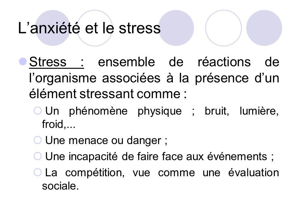 L'anxiété et le stress Stress : ensemble de réactions de l'organisme associées à la présence d'un élément stressant comme :  Un phénomène physique ; bruit, lumière, froid,...