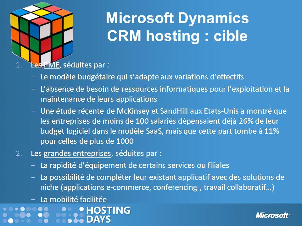 Microsoft Dynamics CRM hosting : cible 1.Les PME, séduites par : –Le modèle budgétaire qui s'adapte aux variations d'effectifs –L'absence de besoin de