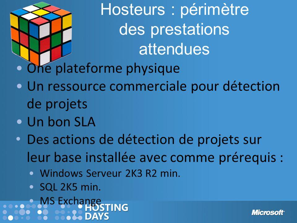 Hosteurs : périmètre des prestations attendues One plateforme physique Un ressource commerciale pour détection de projets Un bon SLA Des actions de dé