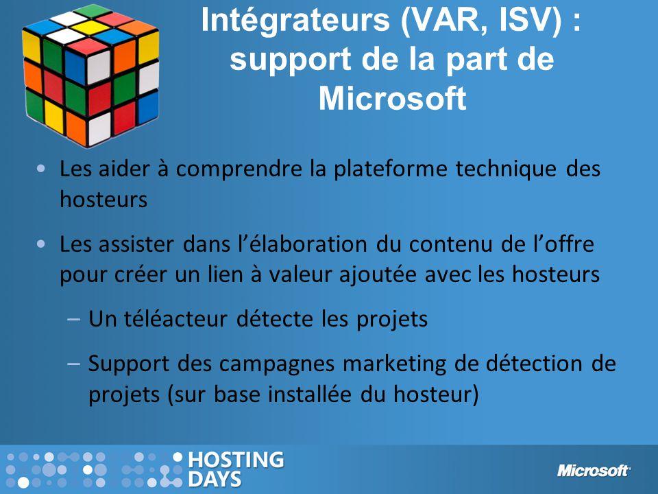 Intégrateurs (VAR, ISV) : support de la part de Microsoft Les aider à comprendre la plateforme technique des hosteurs Les assister dans l'élaboration