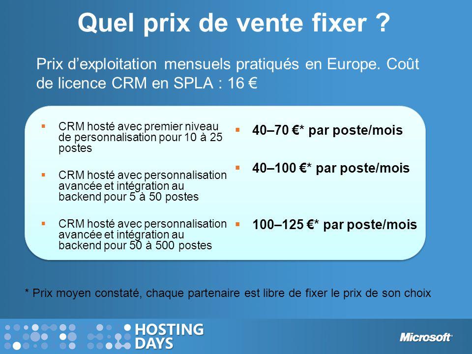 Quel prix de vente fixer ?  40–70 €* par poste/mois  40–100 €* par poste/mois  100–125 €* par poste/mois  CRM hosté avec premier niveau de personn