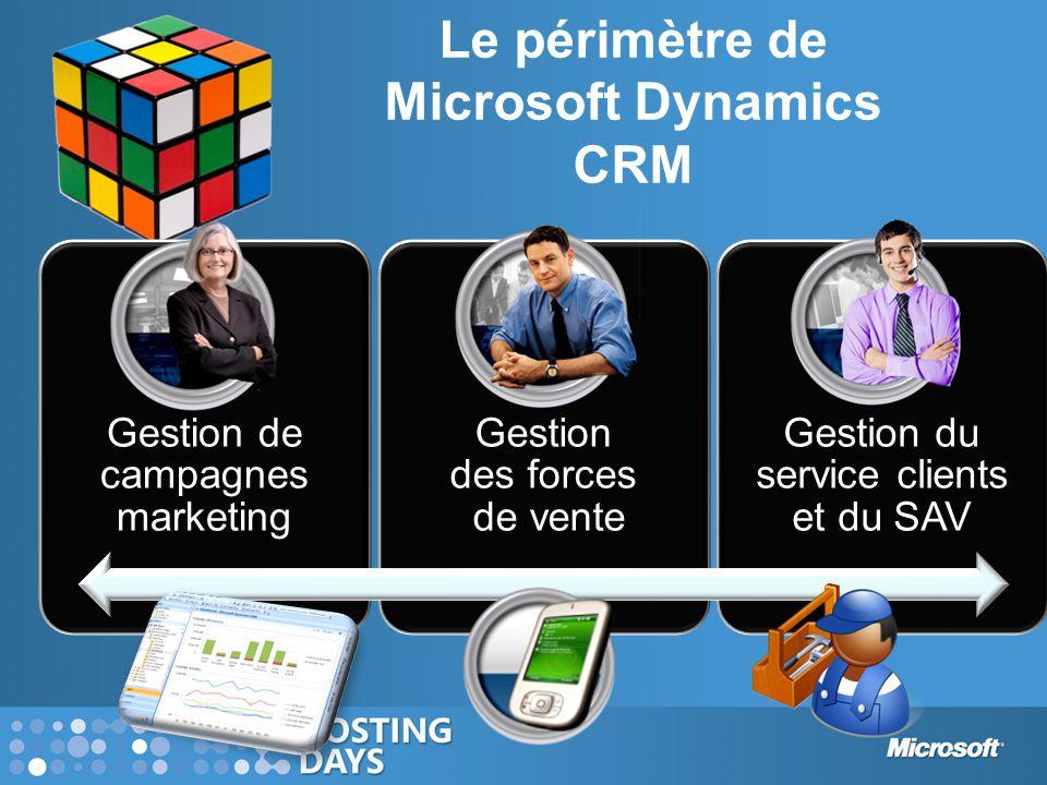 Microsoft Dynamics CRM aujourd'hui Plus de 14 000 clients Plus de 625 000 utilisateurs Une suite complète intégrant les modules Ventes, Marketing, Service client et les fonctions analytiques Une expérience familière, avec la manipulation des données sous Office Architecture SOA / Web Services Disponible en 25 langues
