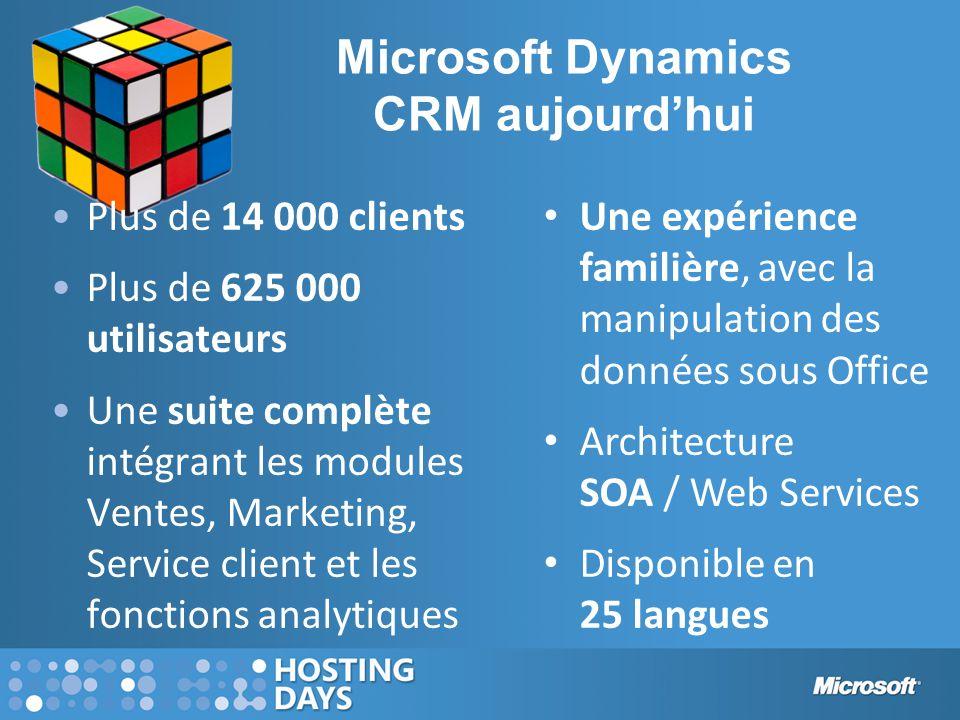 Microsoft Dynamics CRM aujourd'hui Plus de 14 000 clients Plus de 625 000 utilisateurs Une suite complète intégrant les modules Ventes, Marketing, Ser