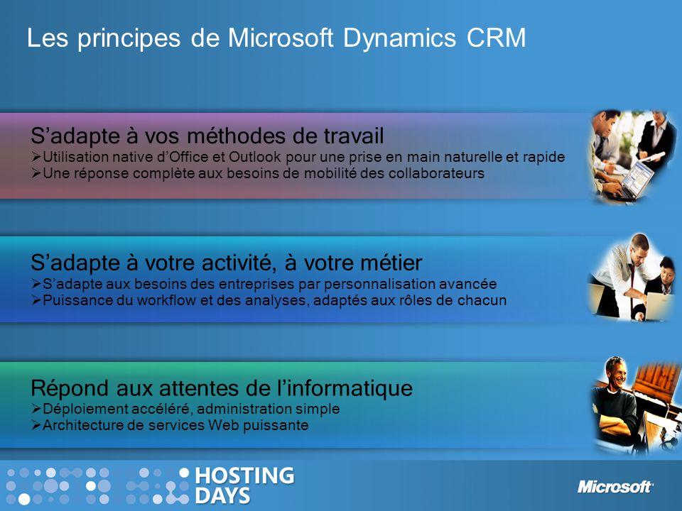CRM Market Breadth & Depth Les objectifs de Microsoft Dynamics CRM 4.0 Toucher de nouveaux marchés, de nouveaux segments Adresser les besoins de comptes globaux Garantir une adoption massive par les utilisateurs Fournir une plate- forme pour le CRM SaaS Microsoft Dynamics CRM 4.0