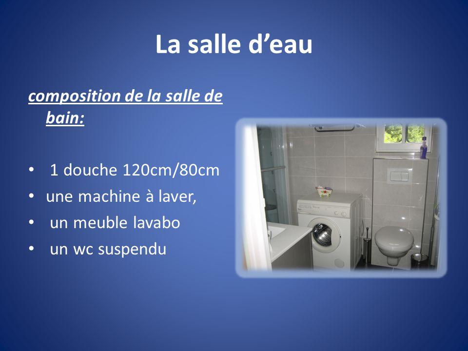 La salle d'eau composition de la salle de bain: 1 douche 120cm/80cm une machine à laver, un meuble lavabo un wc suspendu