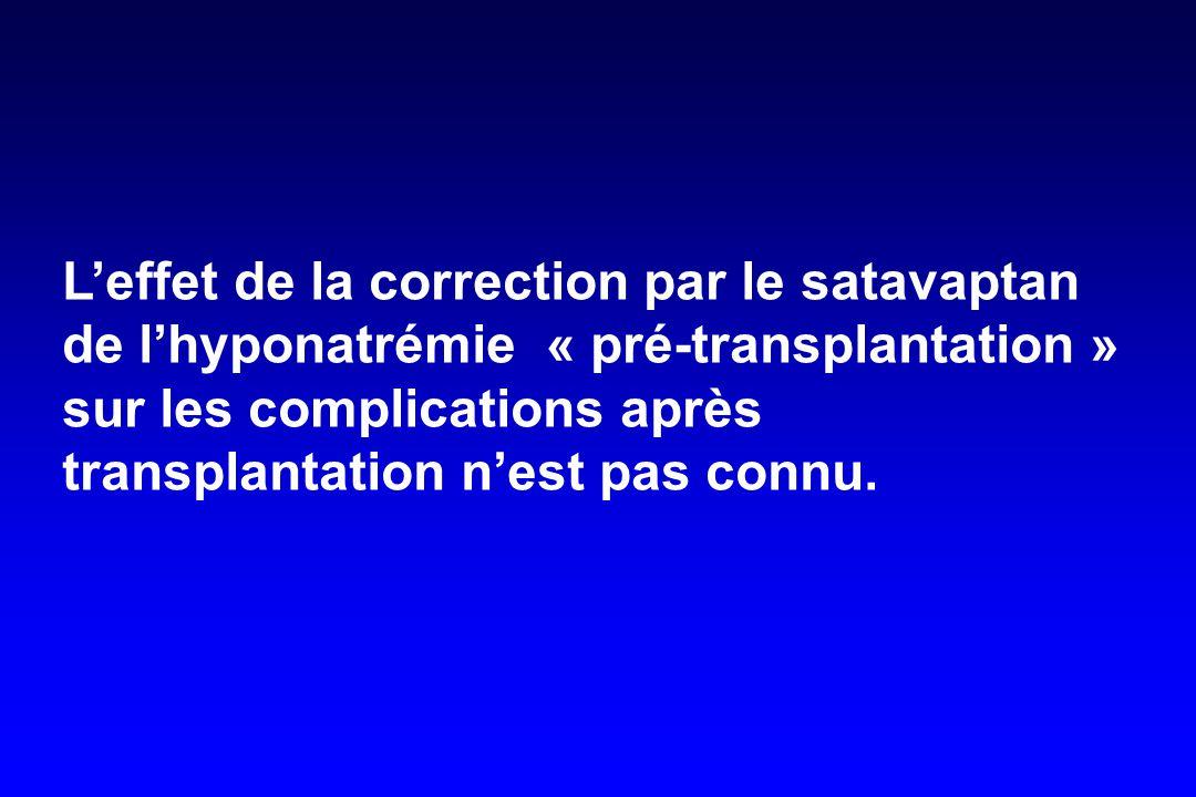 L'effet de la correction par le satavaptan de l'hyponatrémie « pré-transplantation » sur les complications après transplantation n'est pas connu.
