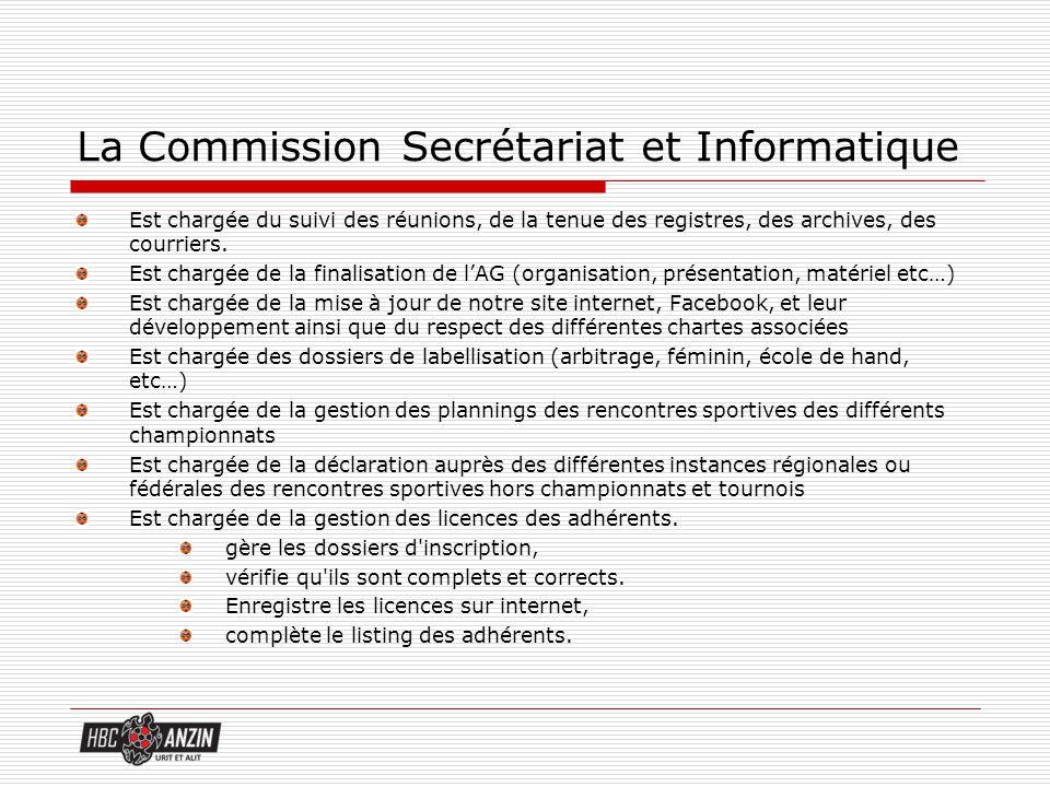 La Commission Secrétariat et Informatique Est chargée du suivi des réunions, de la tenue des registres, des archives, des courriers. Est chargée de la