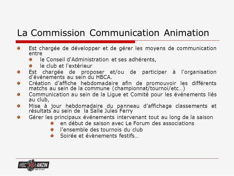 La Commission Communication Animation Est chargée de développer et de gérer les moyens de communication entre le Conseil d'Administration et ses adhér