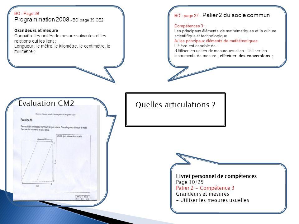 BO : page 27 - Palier 2 du socle commun Compétences 3 : Les principaux éléments de mathématiques et la culture scientifique et technologique A/ les pr