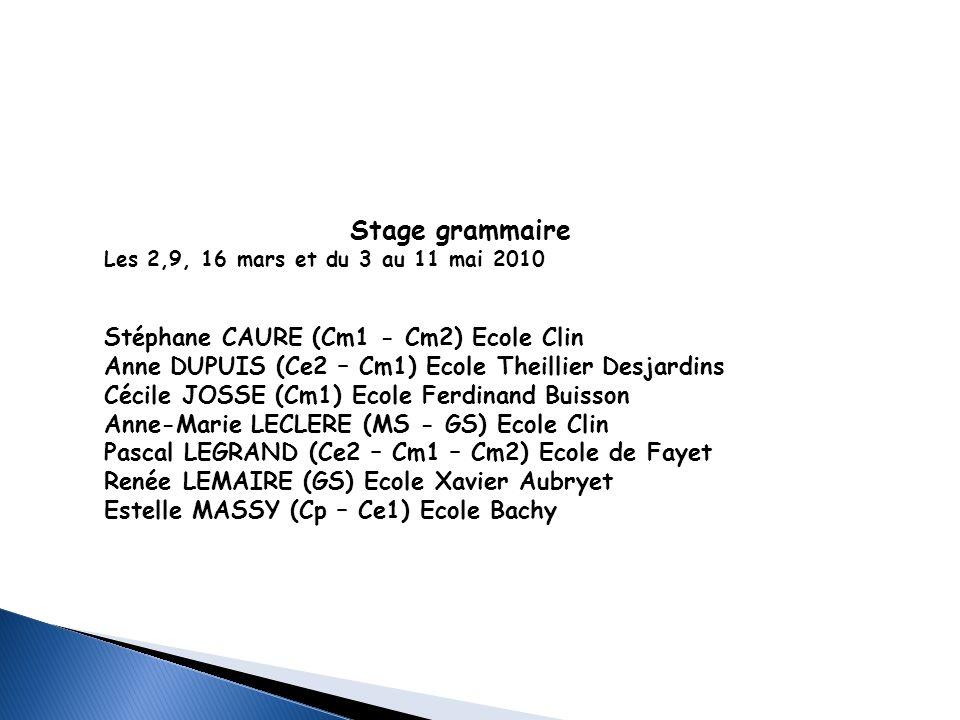 Stage grammaire Les 2,9, 16 mars et du 3 au 11 mai 2010 Stéphane CAURE (Cm1 - Cm2) Ecole Clin Anne DUPUIS (Ce2 – Cm1) Ecole Theillier Desjardins Cécil