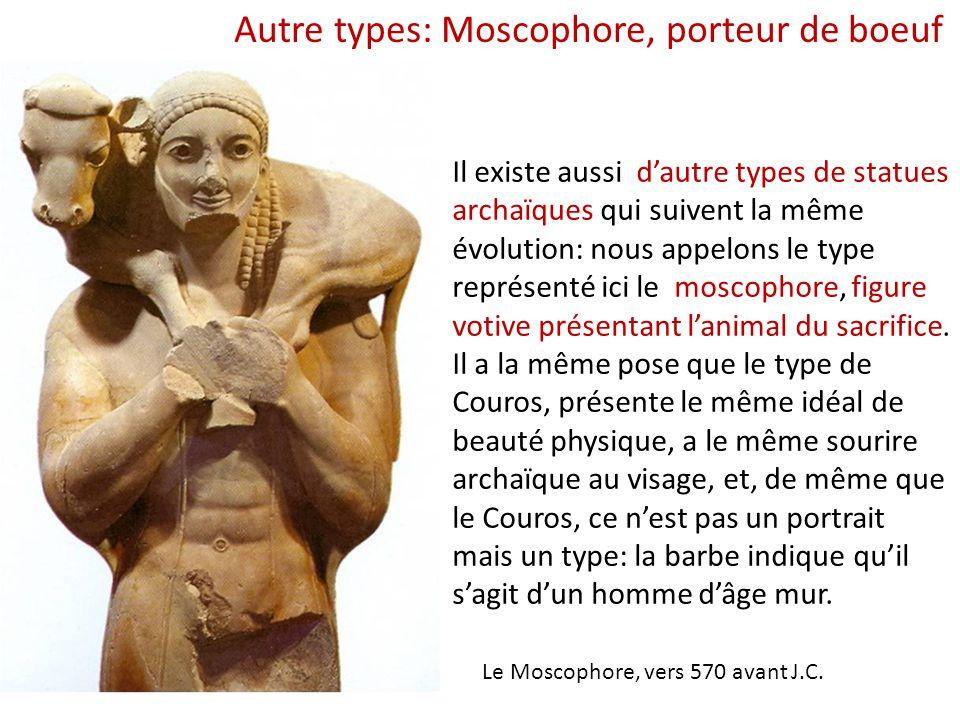 Il existe aussi d'autre types de statues archaïques qui suivent la même évolution: nous appelons le type représenté ici le moscophore, figure votive p