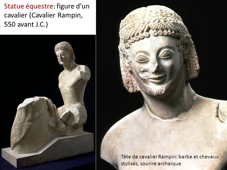 Statue équestre: figure d'un cavalier (Cavalier Rampin, 550 avant J.C.) Tête de cavalier Rampin: barbe et cheveux stylisés, sourire archaïque