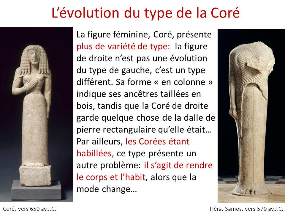 L'évolution du type de la Coré La figure féminine, Coré, présente plus de variété de type: la figure de droite n'est pas une évolution du type de gauc