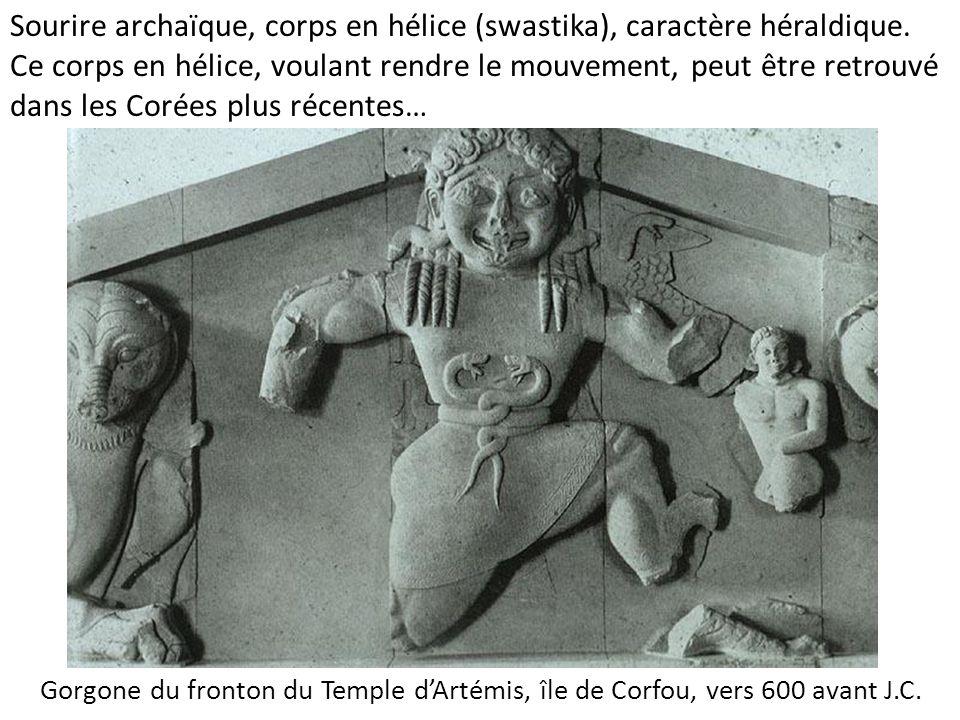 Gorgone du fronton du Temple d'Artémis, île de Corfou, vers 600 avant J.C. Sourire archaïque, corps en hélice (swastika), caractère héraldique. Ce cor