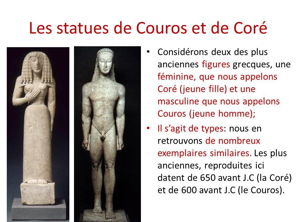 Les statues de Couros et de Coré Considérons deux des plus anciennes figures grecques, une féminine, que nous appelons Coré (jeune fille) et une mascu