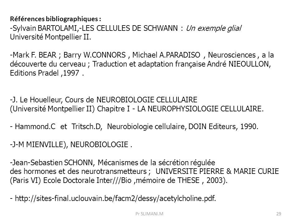 Références bibliographiques : -Sylvain BARTOLAMI,-LES CELLULES DE SCHWANN : Un exemple glial Université Montpellier II. -Mark F. BEAR ; Barry W.CONNOR