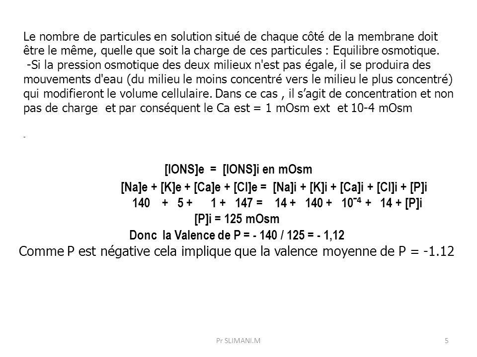 Le nombre de particules en solution situé de chaque côté de la membrane doit être le même, quelle que soit la charge de ces particules : Equilibre osm