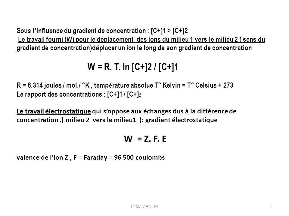 Sous l ' influence du gradient de concentration : [C+]1 > [C+]2 Le travail fourni (W) pour le déplacement des ions du milieu 1 vers le milieu 2 ( sens