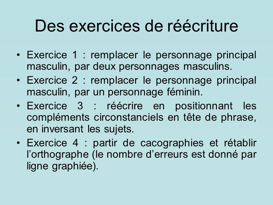 Des exercices de réécriture Exercice 1 : remplacer le personnage principal masculin, par deux personnages masculins. Exercice 2 : remplacer le personn