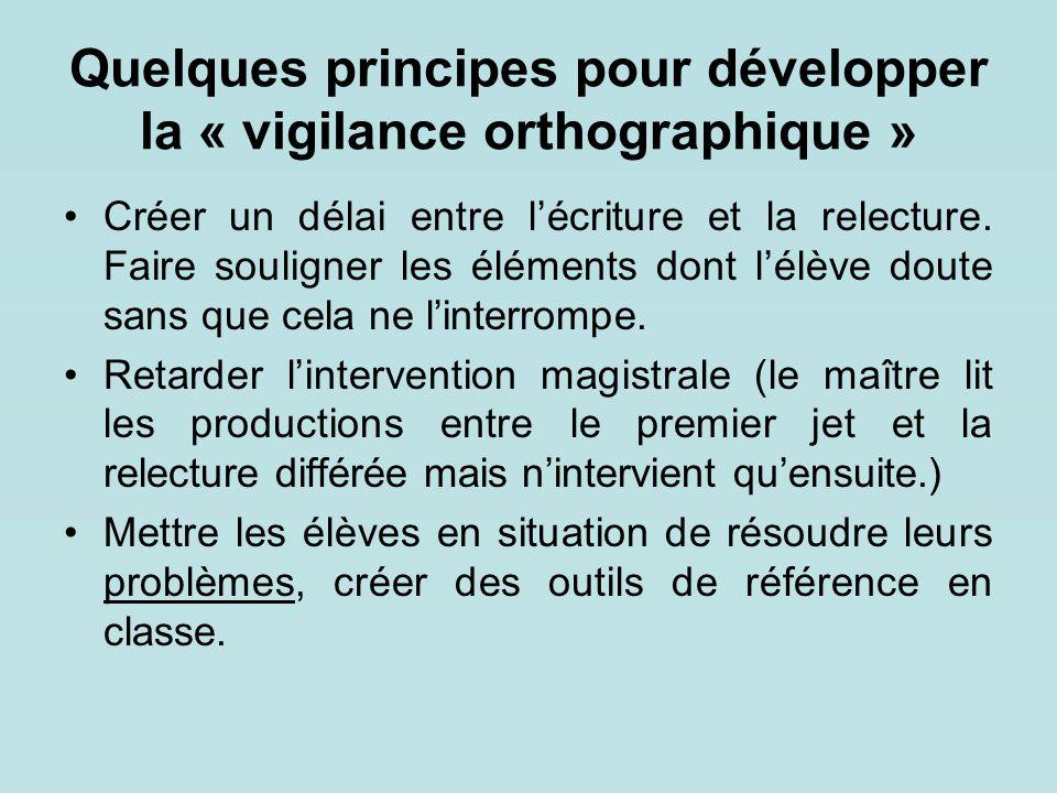Quelques principes pour développer la « vigilance orthographique » Créer un délai entre l'écriture et la relecture. Faire souligner les éléments dont
