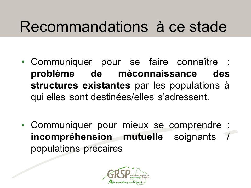 Recommandations à ce stade Communiquer pour se faire connaître : problème de méconnaissance des structures existantes par les populations à qui elles sont destinées/elles s'adressent.