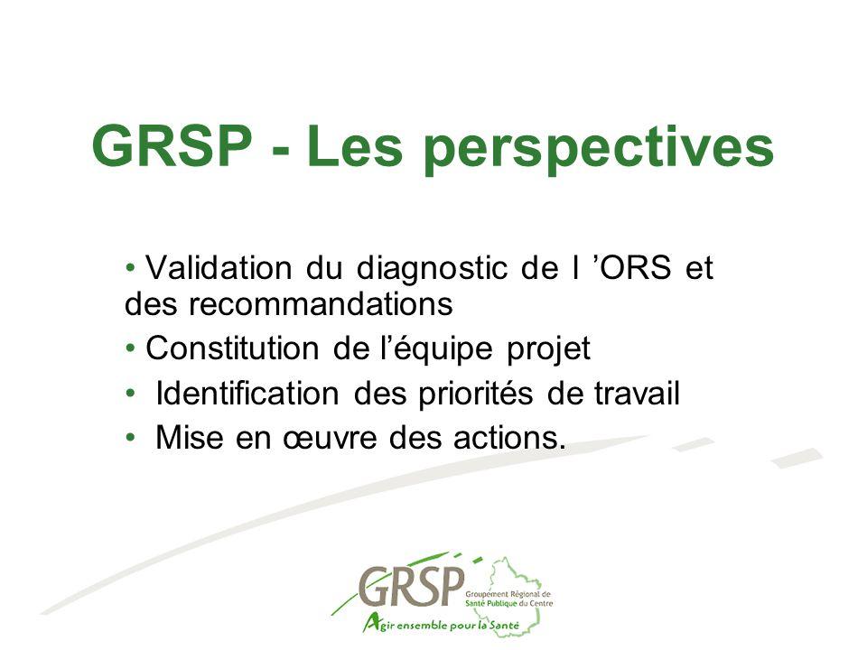 GRSP - Les perspectives Validation du diagnostic de l 'ORS et des recommandations Constitution de l'équipe projet Identification des priorités de travail Mise en œuvre des actions.
