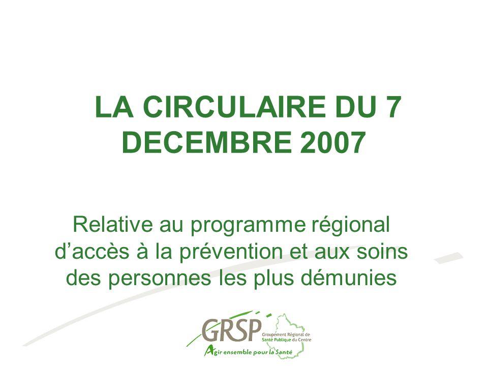 Circulaire du 7 décembre 2007 Poursuite des PRAPS dans le cadre des PRSP Convergence autour du processus de territorialisation des PRSP Outil pour la réduction des inégalités de santé Accès aux soins Intervention sur les déterminants des problèmes de santé Stratégie globale d'actions