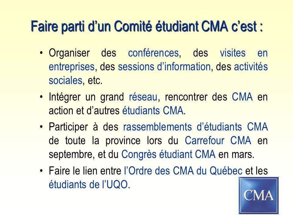Faire parti d'un Comité étudiant CMA c'est : Organiser des conférences, des visites en entreprises, des sessions d'information, des activités sociales, etc.