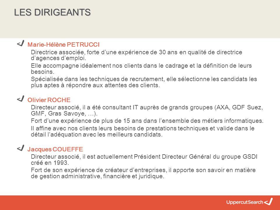 LES DIRIGEANTS Marie-Hélène PETRUCCI Directrice associée, forte d'une expérience de 30 ans en qualité de directrice d'agences d'emploi.