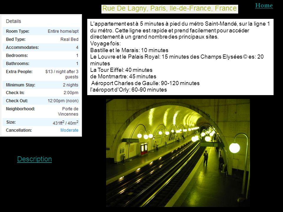 L appartement est à 5 minutes à pied du métro Saint-Mandé, sur la ligne 1 du métro.