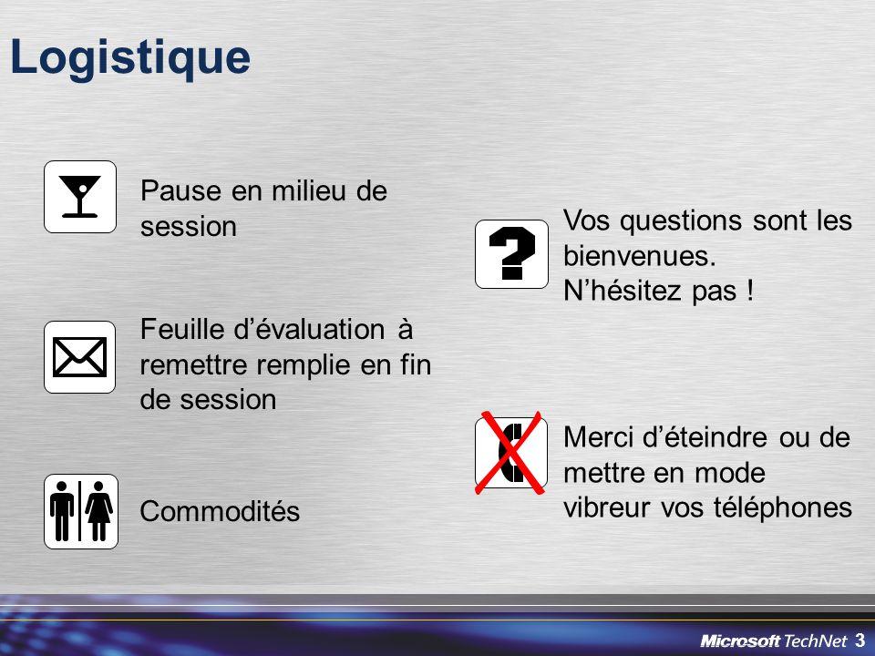 3 Logistique Pause en milieu de session Vos questions sont les bienvenues. N'hésitez pas ! Feuille d'évaluation à remettre remplie en fin de session C