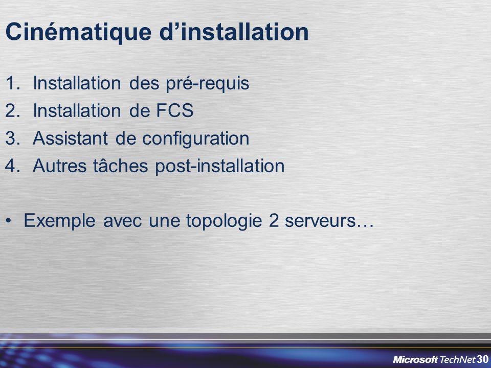 30 Cinématique d'installation 1.Installation des pré-requis 2.Installation de FCS 3.Assistant de configuration 4.Autres tâches post-installation Exemple avec une topologie 2 serveurs…